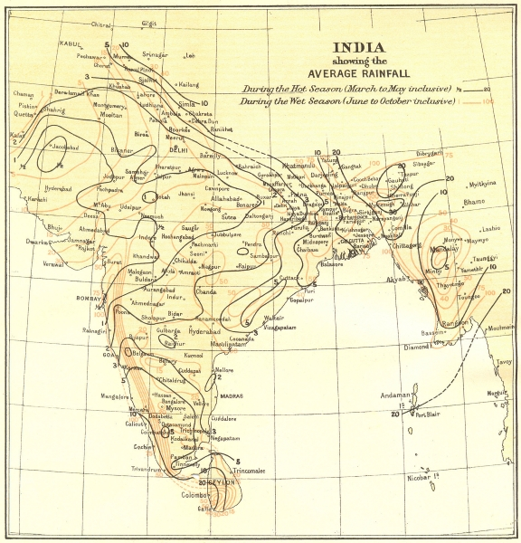 Associate Product INDIA. showing average Rainfall during Monsoon & dry seasons. Isohyets 1924 map