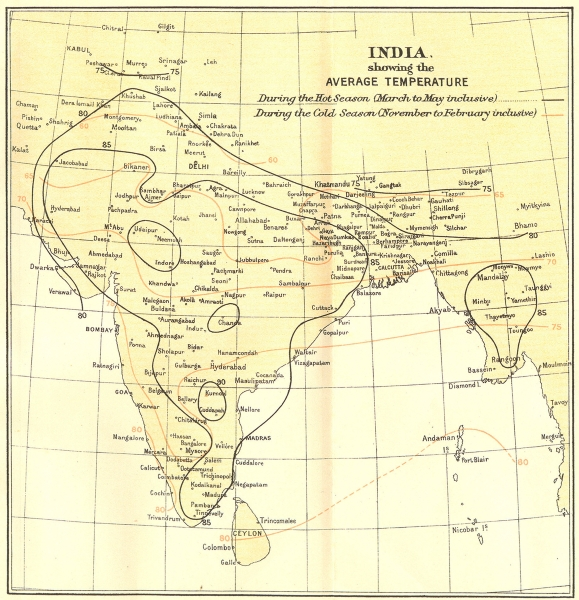 Associate Product INDIA. average Temperature during Monsoon & dry seasons. Isotherms 1924 map