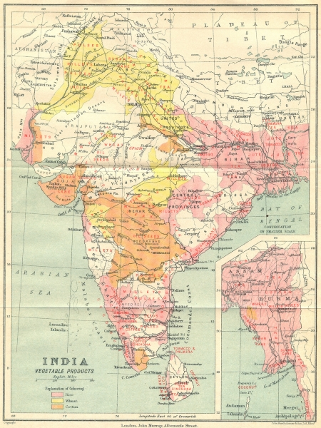 Associate Product INDIA. Agricultural produce. Rice Wheat Cotton Sugar Opium Coffee Tea 1924 map