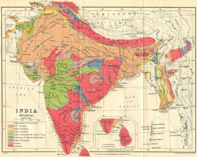 INDIA. Geological map. Tertiary Cretaceous Archaean Purana Gondwana 1924