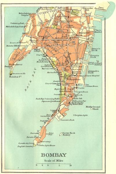Associate Product BRITISH INDIA. Bombay (Mumbai) city plan.Key buildings docks Gymkhanas 1924 map