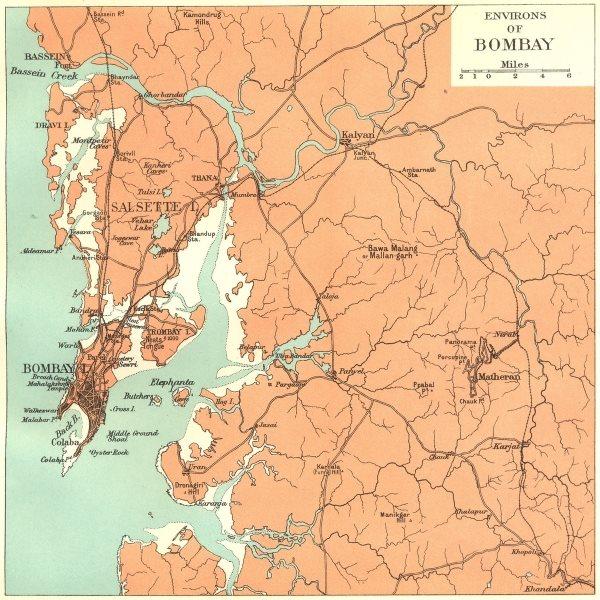 Associate Product INDIA. Bombay (Mumbai) environs. Maharashtra. Salsette Matheran Kalyan 1924 map