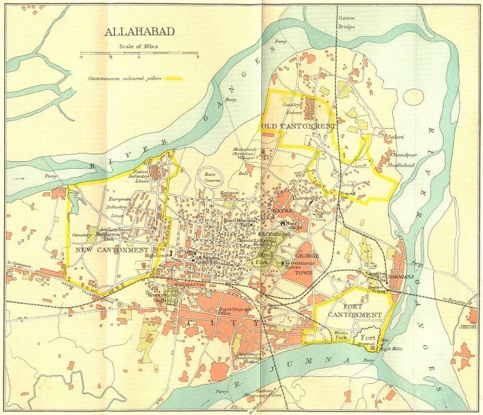 Associate Product BRITISH INDIA. Allahabad (Prayag) city plan. Cantonment Ganges 1924 old map