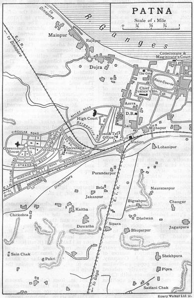 Associate Product BRITISH INDIA. Patna city plan. Railways buildings Race course Ganges 1924 map