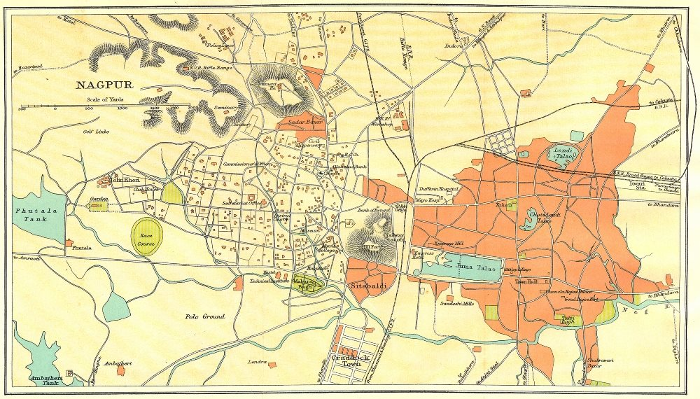 Associate Product BRITISH INDIA. Nagpur city plan. Maharashtra. 1924 old vintage map chart