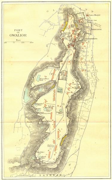 INDIA. Fort of Gwalior. Plan. Madhya Pradesh. 1924 old vintage map chart