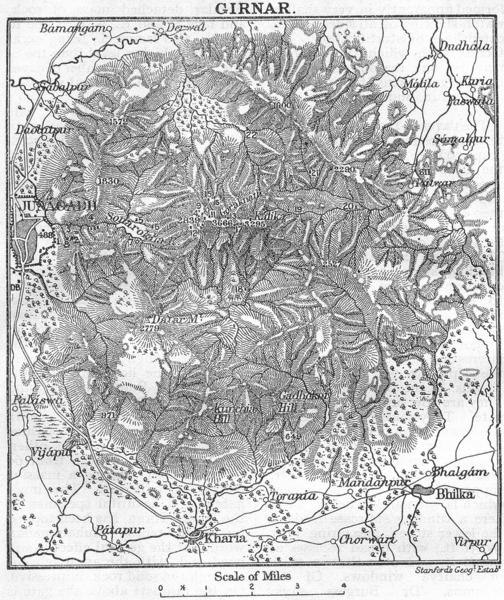Associate Product BRITISH INDIA. Girnar Hill (Girinagar), Junagadh, Gujarat 1924 old vintage map