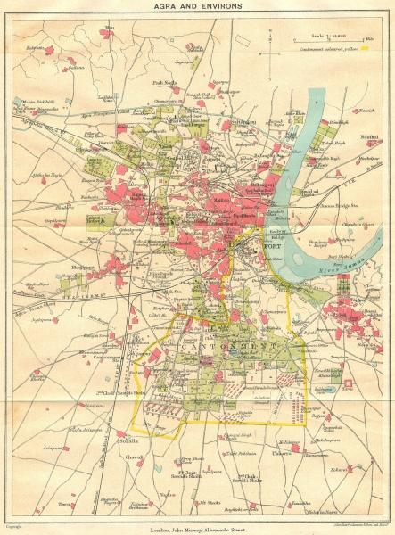 Associate Product BRITISH INDIA. Agra & environs. Showing Cantonment, Fort & Taj Mahal 1924 map