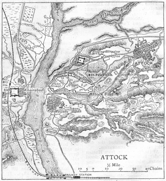 Associate Product PAKISTAN. Attock town & Attock Fort sketch map. Khairabad. Sikh Fort 1924