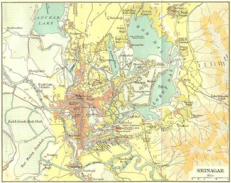 Associate Product INDIA. Srinagar city & environs plan. Kashmir 1924 old vintage map chart