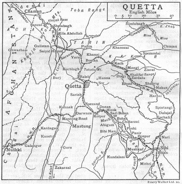 Associate Product PAKISTAN. Quetta & environs sketch map. British India 1924 old vintage