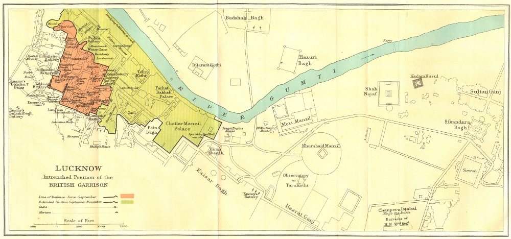 Associate Product SIEGE OF LUCKNOW.showing British Garrison positions.1857 Indian Mutiny 1924 map
