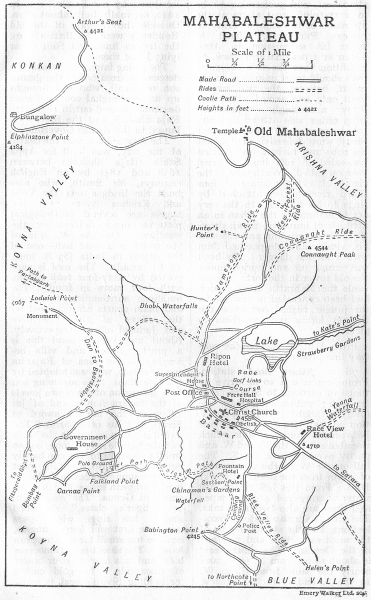 Associate Product BRITISH INDIA. Mahabaleshwar Plateau sketch map. Hill station 1924 old