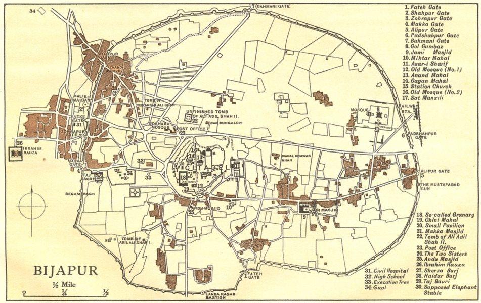 Associate Product BRITISH INDIA. Bijapur city plan showing palaces/mahal mosques gates 1924 map