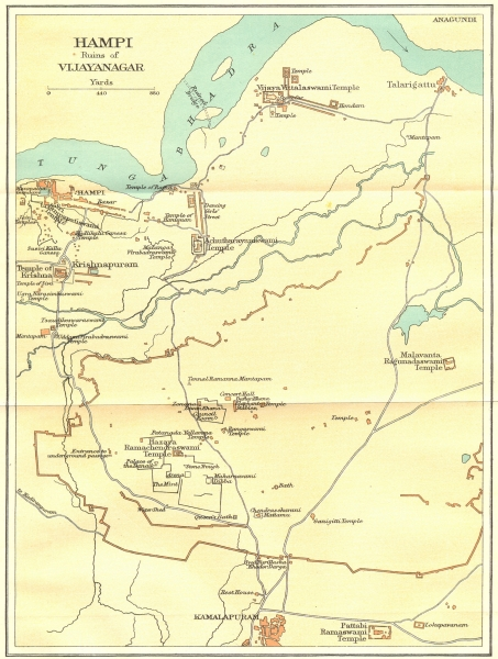 Associate Product INDIA. Hampi ruins of Vijayanagar showing temples. Kamalapuram 1924 old map