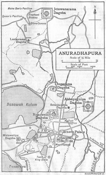 Associate Product CEYLON. Anuradhapura sketch map. Sri Lanka. Dagobas. British India 1924