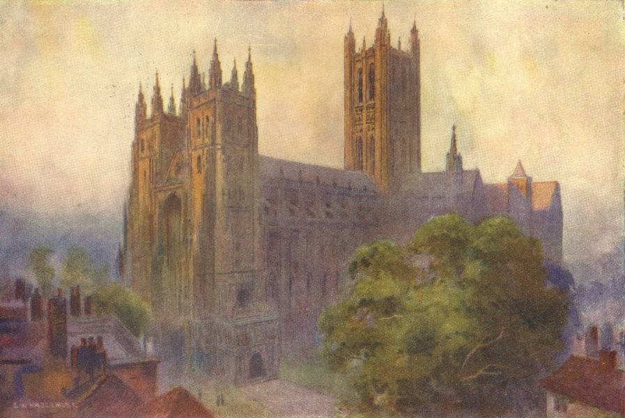 Associate Product Canterbury Cathedral from Christ Church Gate. Kent. By Ernest Haslehust 1920