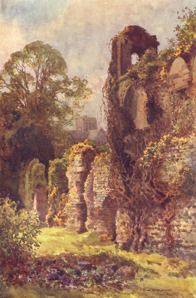 Associate Product Ruins of Wolvesey Castle, Winchester. Hampshire. By Ernest Haslehust 1920