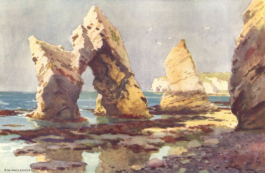 Associate Product In Freshwater Bay. Isle of Wight. By Ernest Haslehust 1920 old vintage print
