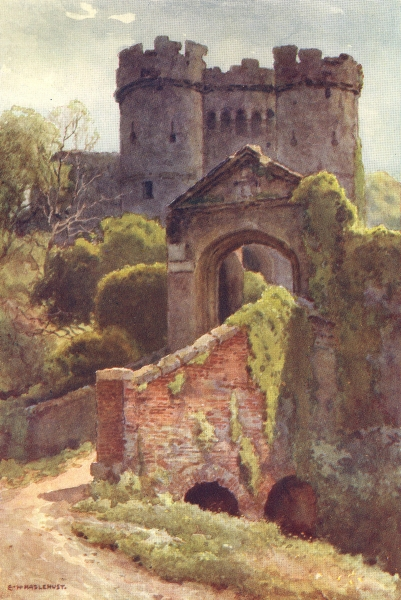 Associate Product Carisbrooke Castle. Isle of Wight. By Ernest Haslehust 1920 old vintage print