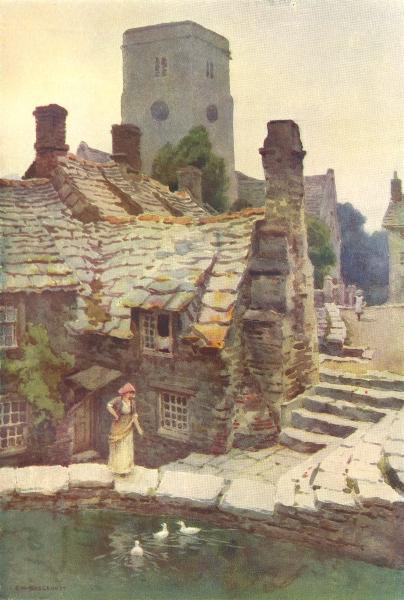 The Mill Pond, Old Swanage. Dorset. By Ernest Haslehust 1920 vintage print