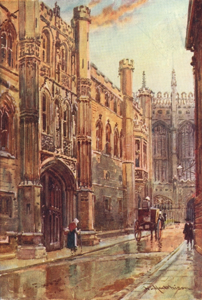Associate Product CAMBRIDGE. Gateway of King's College 1907 old antique vintage print picture