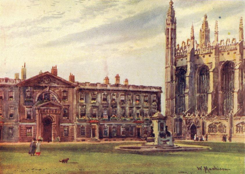 Associate Product CAMBRIDGE. King's College Chapel Fellow's building 1907 old antique print
