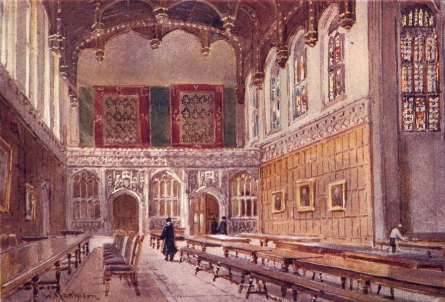 CAMBRIDGE. Colleges. Hall of King's College 1907 old antique print picture