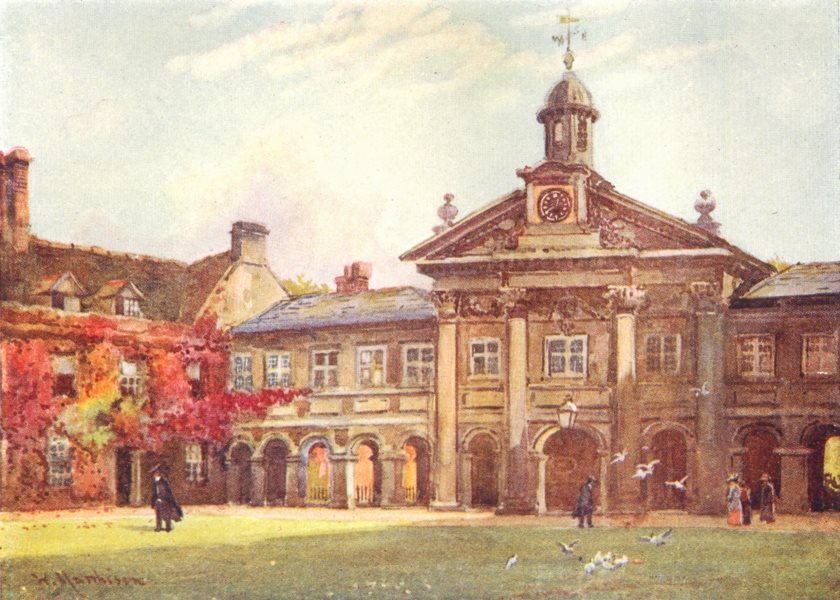 CAMBRIDGE. Colleges. Ct Emmanuel College 1907 old antique print picture