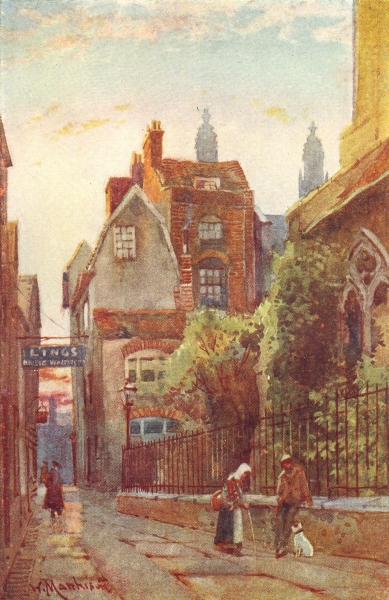 Associate Product CAMBRIDGE. Houses St Edward's Church & Passage 1907 old antique print picture