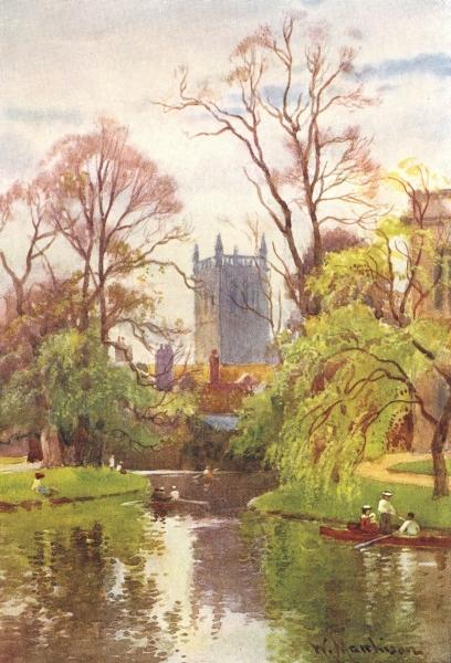 Associate Product CAMBRIDGE. Tower St John's College Chapel river 1907 old antique print picture