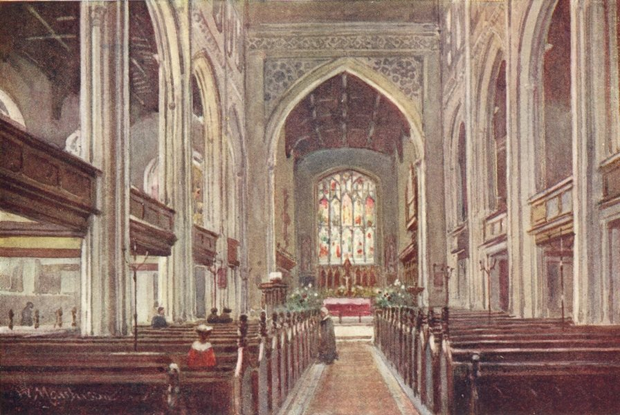 Associate Product CAMBRIDGE. University Church Great St Mary 1907 old antique print picture