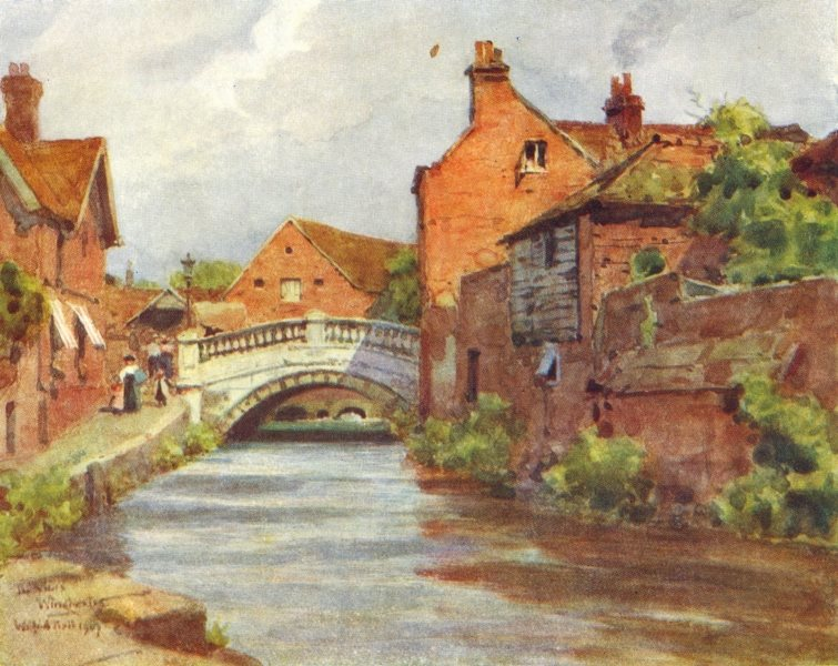 Associate Product WINCHESTER. The City Bridge & City Mill. The Weirs. HAMPSHIRE 1909 old print