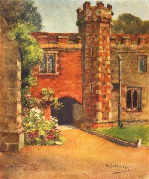 Associate Product WINCHESTER. Tower of Ambulatory, Hospital of St Cross. HAMPSHIRE 1909 print