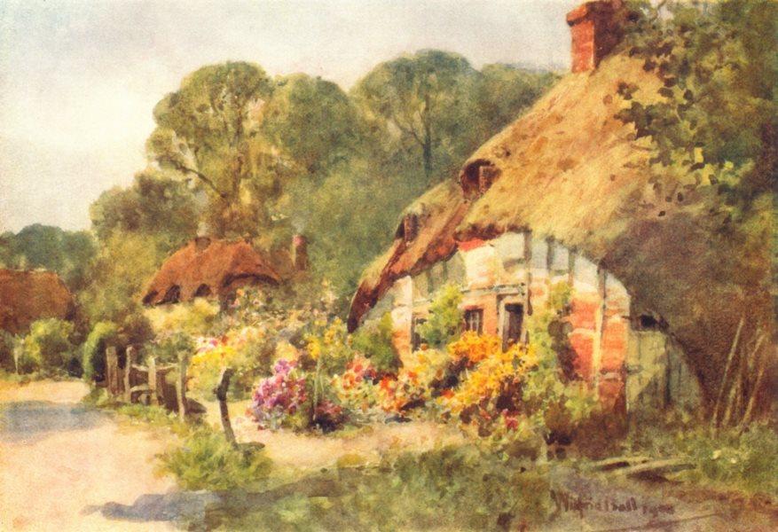 Associate Product FORTON. village view. Near Longparish. Thatched cottages. HAMPSHIRE 1909 print