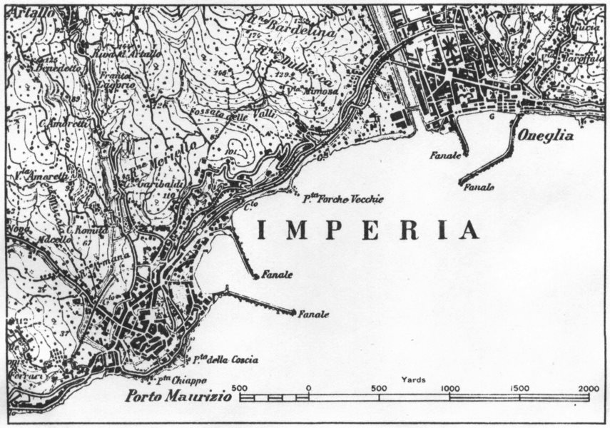 Associate Product ITALY. Imperia 1945 old vintage map plan chart
