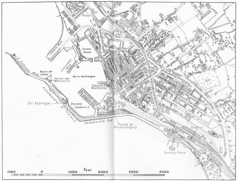 Associate Product ITALY. Civitavecchia 1945 old vintage map plan chart