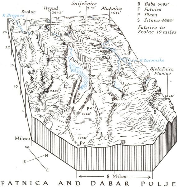 Associate Product CROATIA. Block diagram of Polja Fatnica & Dabar 1944 old vintage map chart
