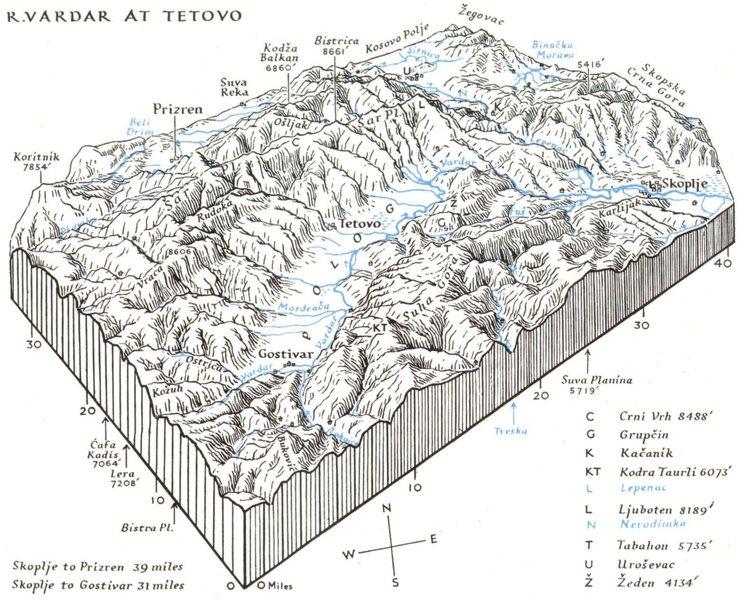 Associate Product MACEDONIA. diagram Upper Vardar river system 1944 old vintage map plan chart