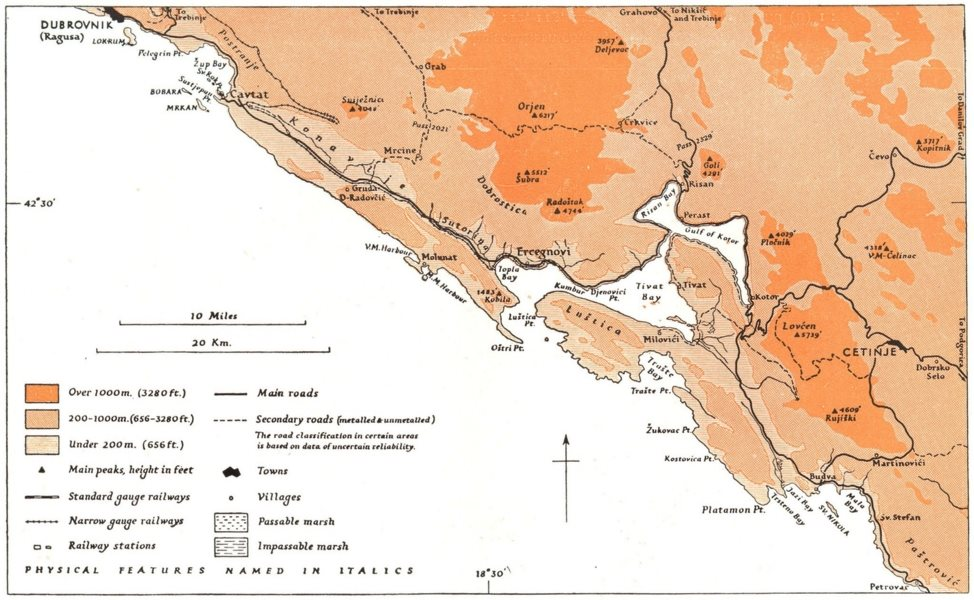 Associate Product MONTENEGRO. Coasts of Kotor Region 1944 old vintage map plan chart