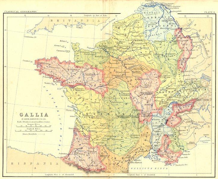 Associate Product FRANCE. Gallia 1880 old antique vintage map plan chart