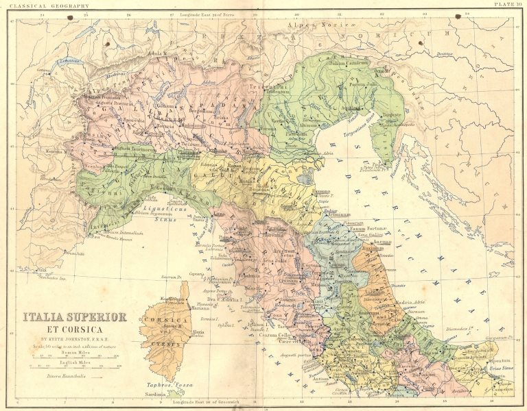 ITALY. Italia Superior Corsica 1880 old antique vintage map plan chart