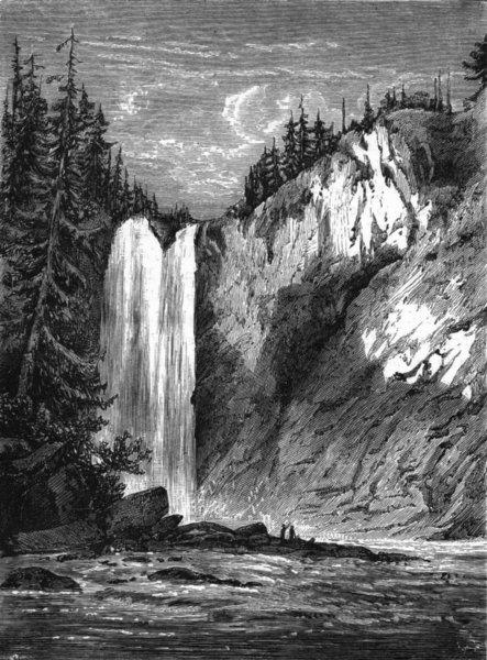 Associate Product WASHINGTON. Snoqualami falls, Territory c1880 old antique print picture