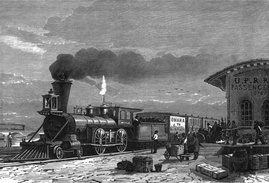 Associate Product WYOMING. Station of Pacific Railway at Omaha c1880 old antique print picture