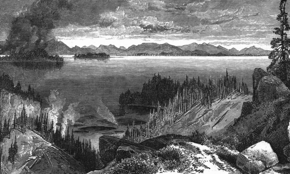 Associate Product WYOMING. Yellowstone lake c1880 old antique vintage print picture