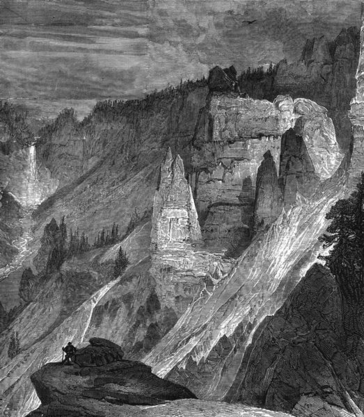 WYOMING. Cliffs, Canyon of Yellowstone c1880 old antique vintage print picture