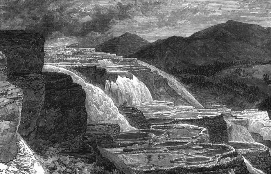 Associate Product WYOMING. Hot Springs of Gardiner's river c1880 old antique print picture