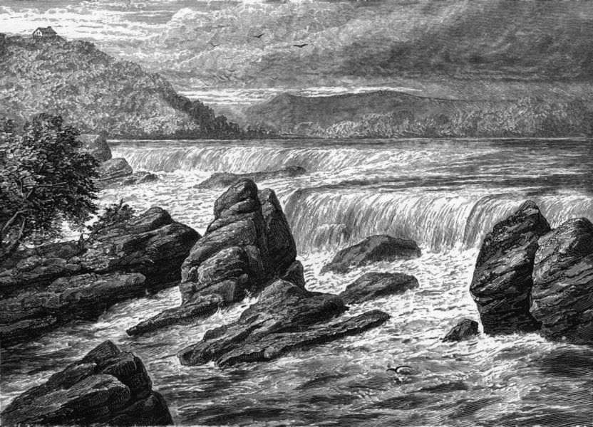MINNESOTA. Falls of St Anthony c1880 old antique vintage print picture