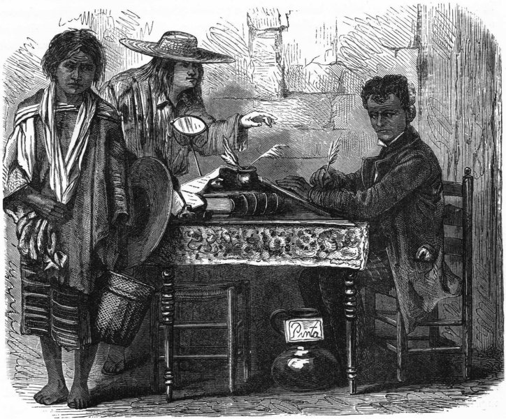 Associate Product MEXICO. Evangelista, Letter-Writer & his clients c1880 old antique print
