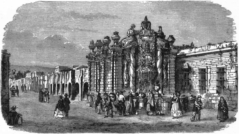 Associate Product MEXICO. Fountain & Aqueduct c1880 old antique vintage print picture
